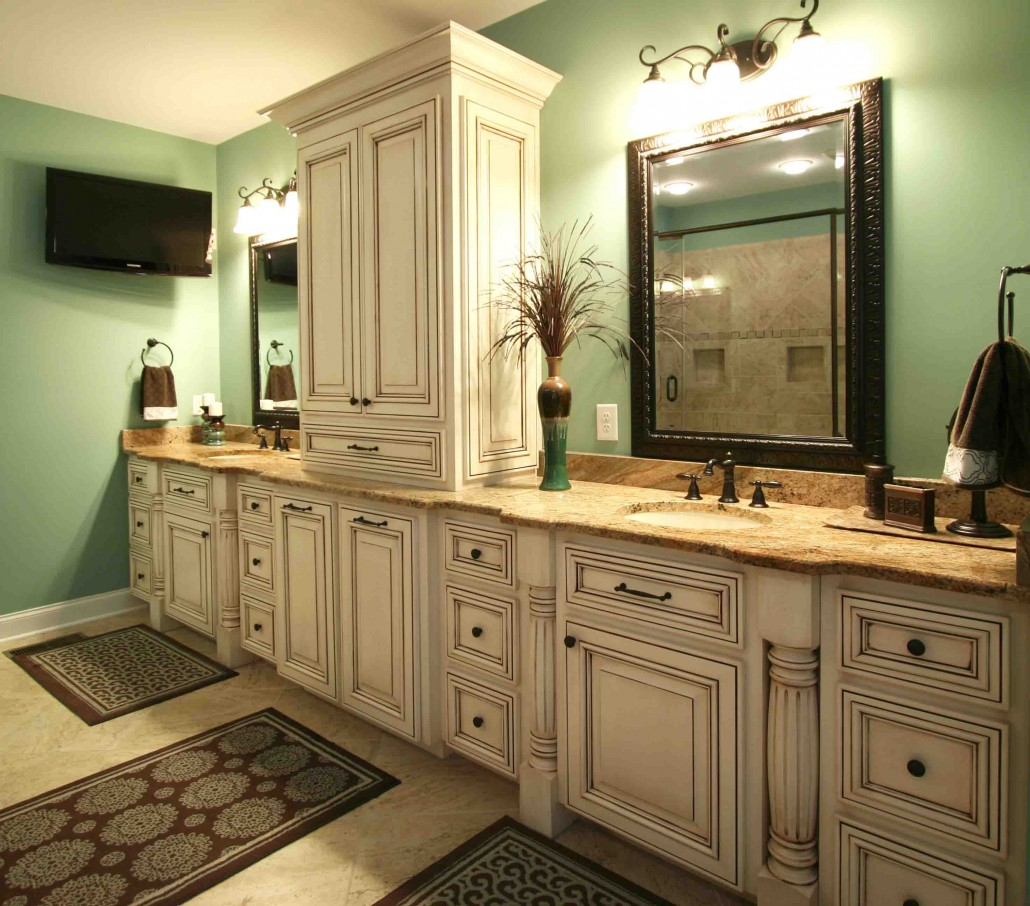 Master Bath Custom Cabinets Double Sinks Huge Bathrooms Painted And Glazed