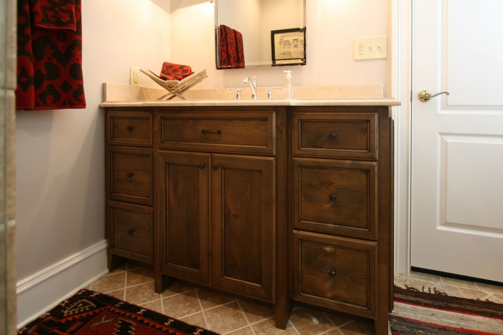 dark stained bathroom cabinets, free standing cabinets, vanity