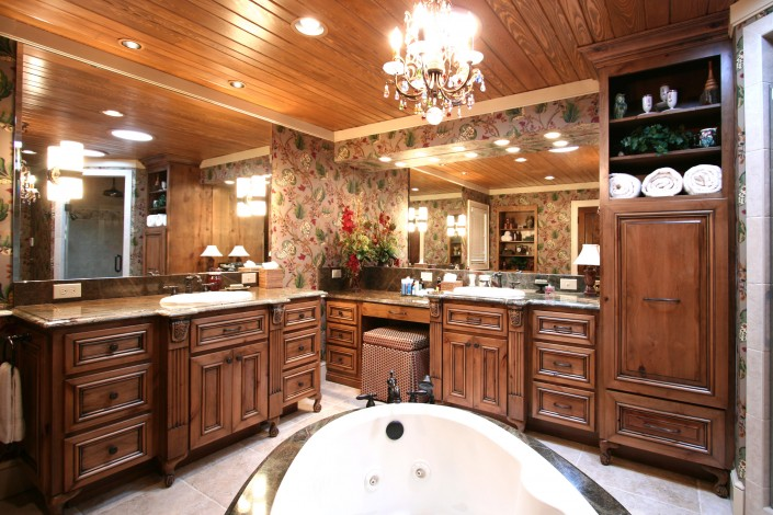 huge bathrooms, custom cabinets, bathroom design ideas, stained cabinets, make up vanity