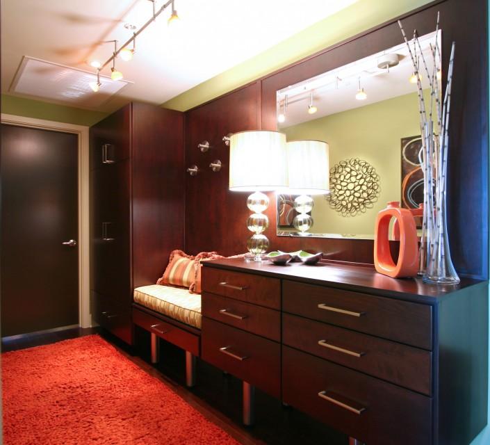 Contemporary, modern, custom cabinets, condo, retro decor,