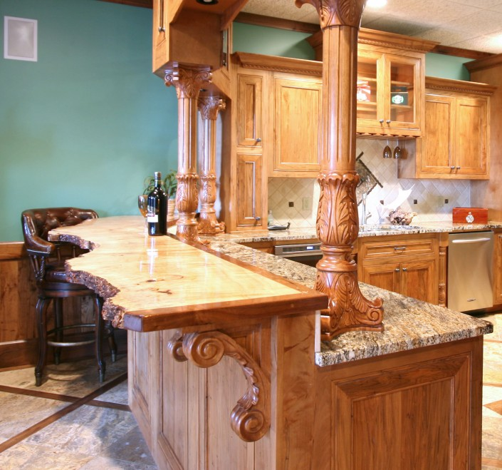 man cave, natural wood, bar design ideas, custom cabinets,