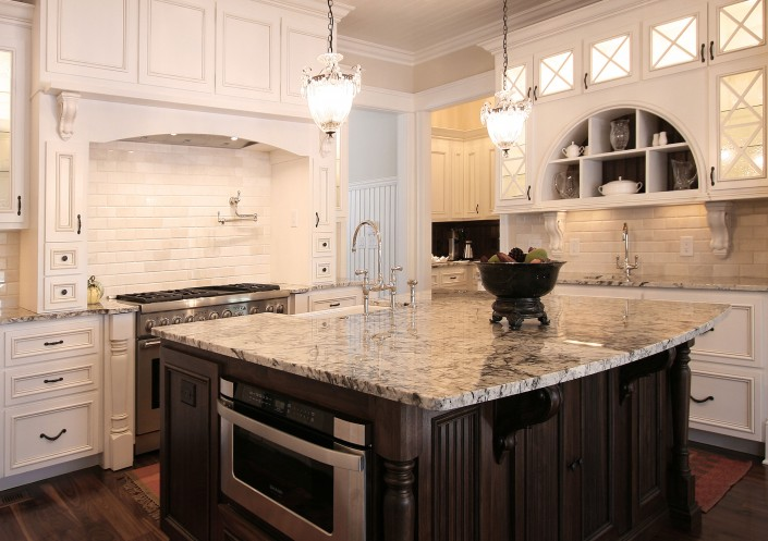 custom kitchen cabinets,white kitchens, custom cabinets, kitchen design ideas, dark stained island, glass front doors