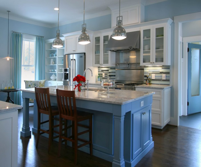 custom kitchen cabinets, blue kitchen island, white kitchen cabinets, custom cabinets, stainless steel hood,