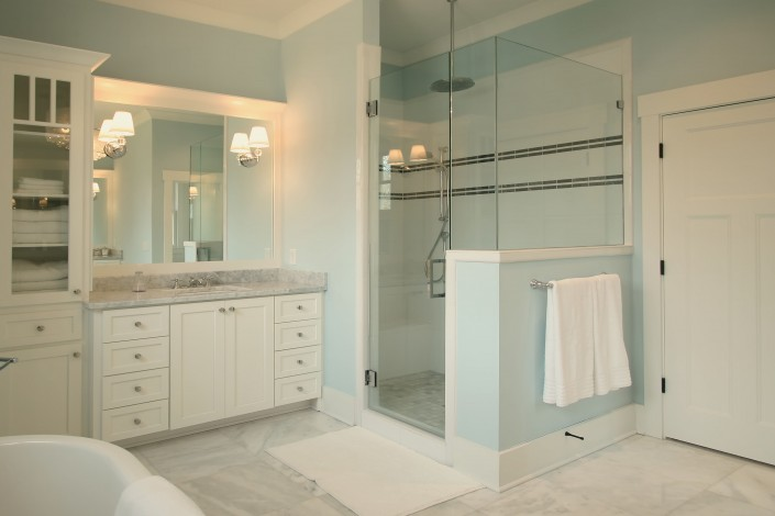 Bathroom design ideas, glass shower, white cabinets, custom cabinets