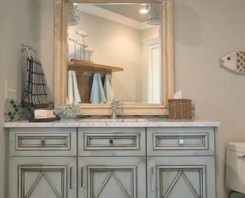 blue cabinets, bath room ideas, home of distinction, diamond pattern, lake bath