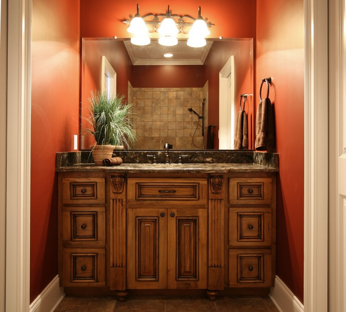 custom cabinets, bathroom ideas, traditional style, stained cabinets,