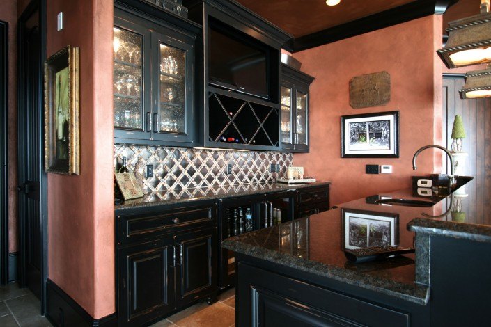 wine rack, bar ideas, custom cabinets, black cabinets, black counter tops,