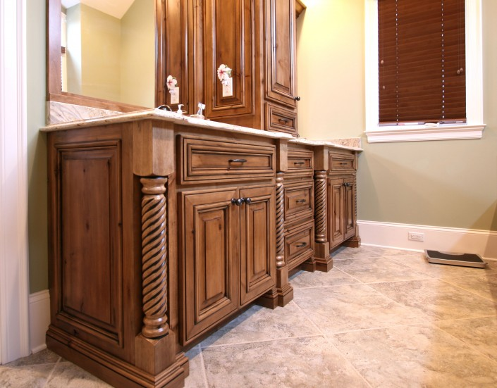 his and hers double vanity, stained cabinets, custom bathroom, bathroom design ideas