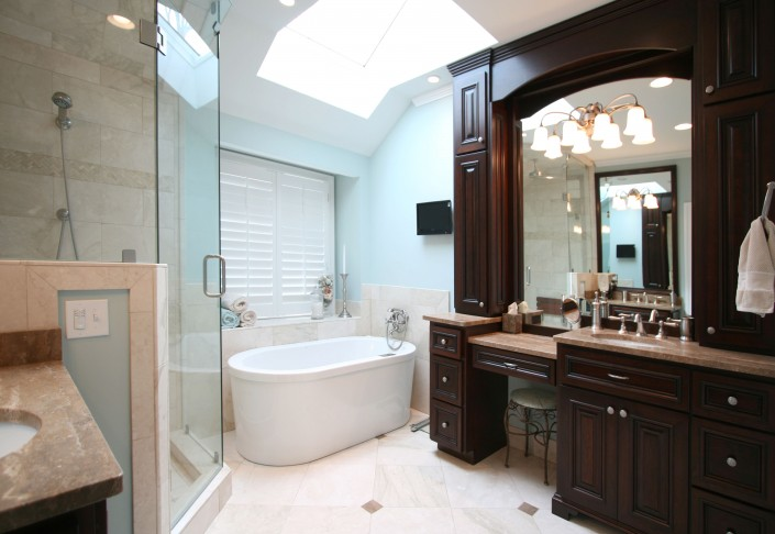 dark stained cabinets, bathroom ideas, custom cabinets, make up vanity, large bathrooms