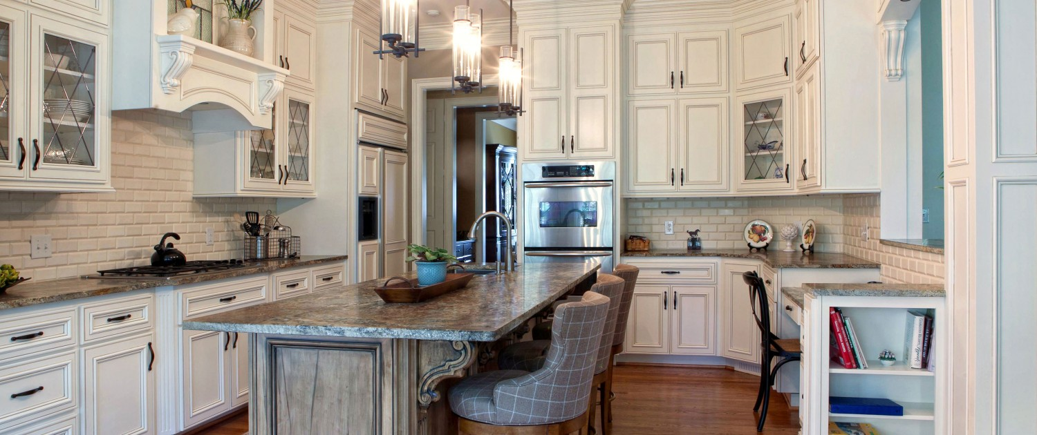 custom kitchen cabinets,white kitchen,painted cabinets,island,mantle hood,display shelf,glass front cabinets, wormy maple island