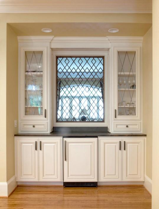 mini bar, wet bar, custom cabinets, mini refrigerator, white cabinets