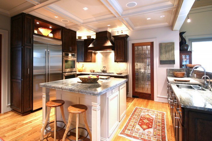 custom kitchen cabinets,Transitional kitchen design, eat in kitchen, white island, custom hood,