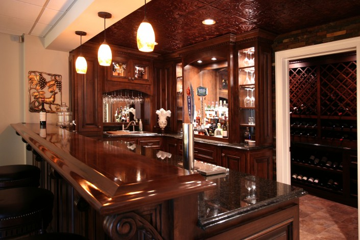 man cave, home bar, custom bar, wine rack